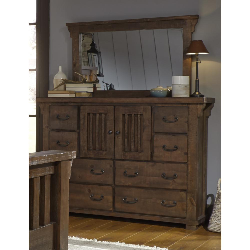 Progressive Furniture Forrester 8 Drawer Tobacco Dresser With Mirror