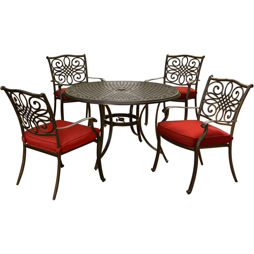 Hanover Traditions 5 Piece Round Outdoor Dining Set With Red Cushions
