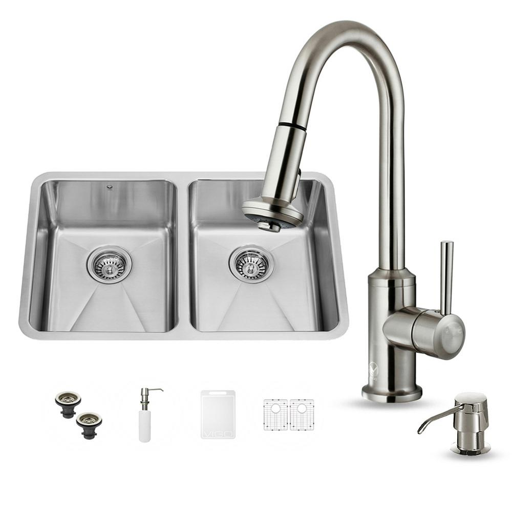 VIGO All-in-One Undermount Stainless Steel 29 in. Double Bowl ...