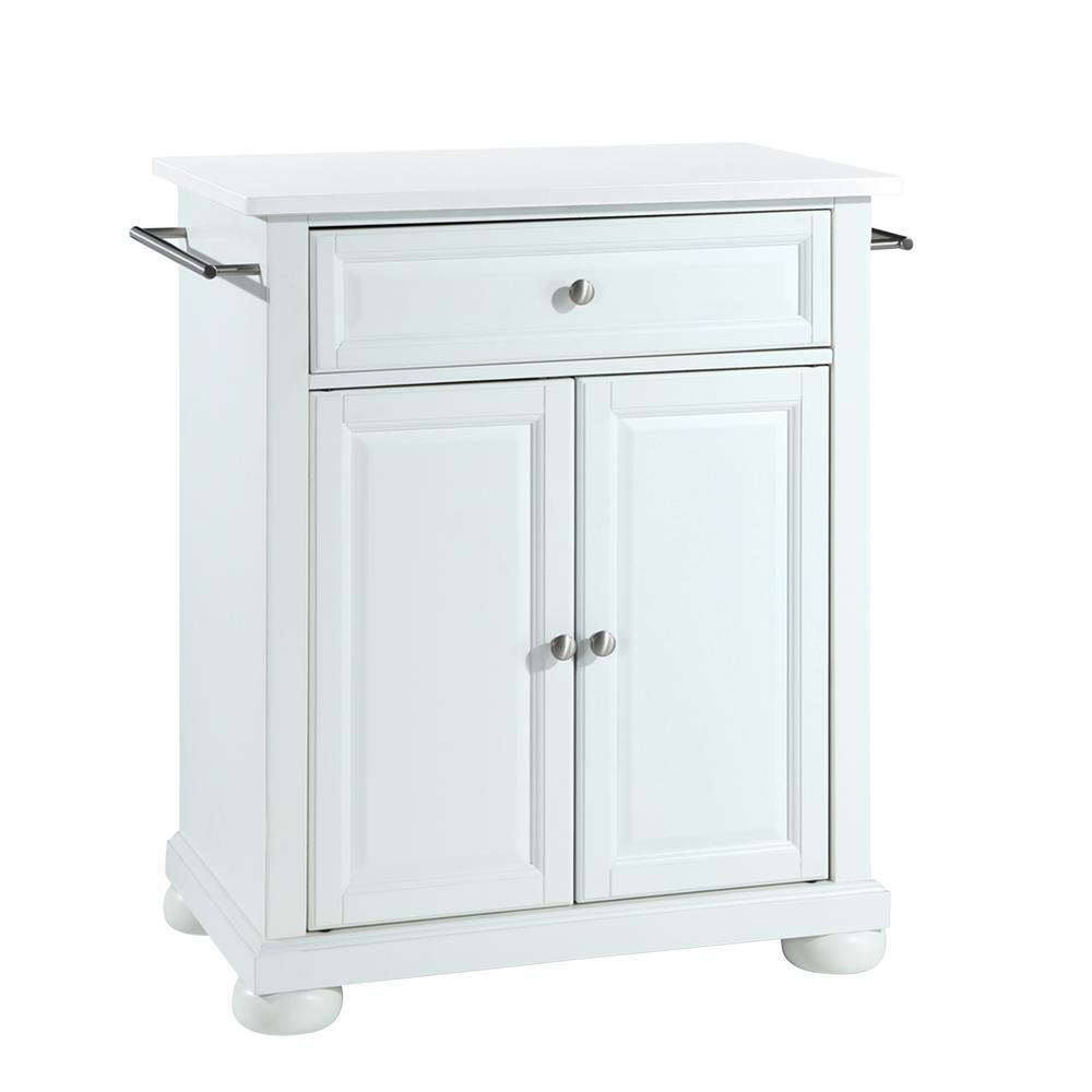 Alexandria White Portable Kitchen Island/Cart with Granite Top