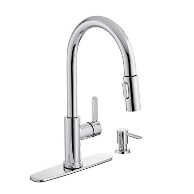 Paulina Single-Handle Pull-Down Sprayer Kitchen Faucet with TurboSpray and FastMount Including Soap Dispenser in Chrome