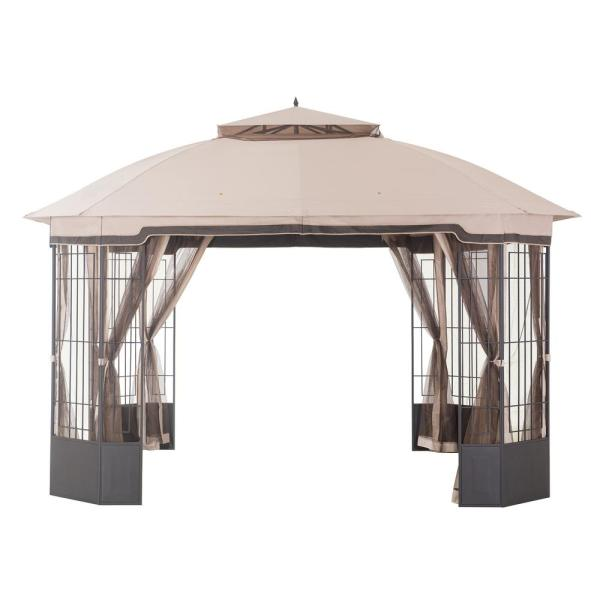 Hampton Bay Bellana 12 Ft X 10 Ft Light Beige Domed Top Gazebo With Mosquito Netting L Gz804pst The Home Depot