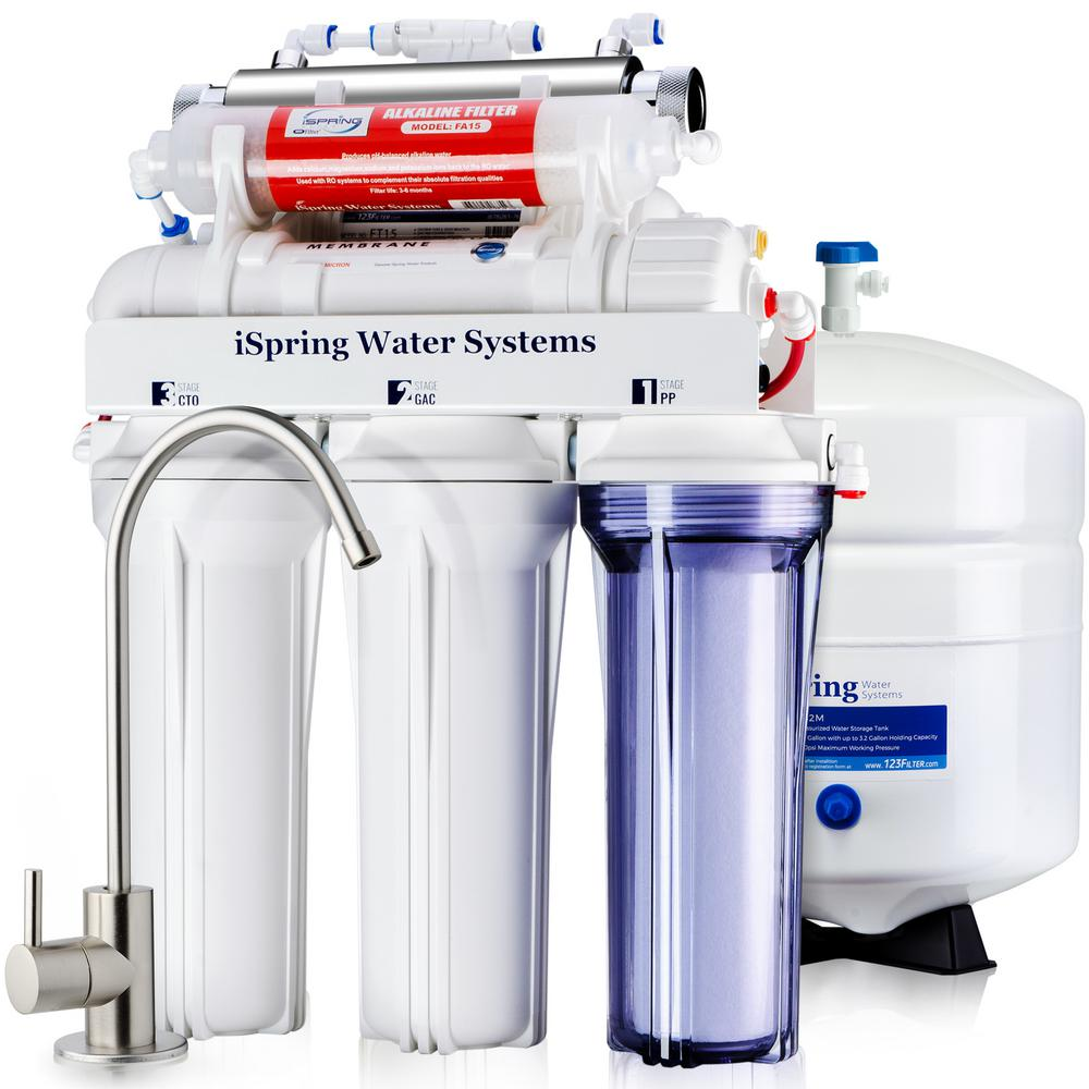 ISPRING 75GPD 7-Stage Under-Sink Reverse Osmosis RO Drinking Water Filtration System with Alkaline Filter and UV Sterilizer
