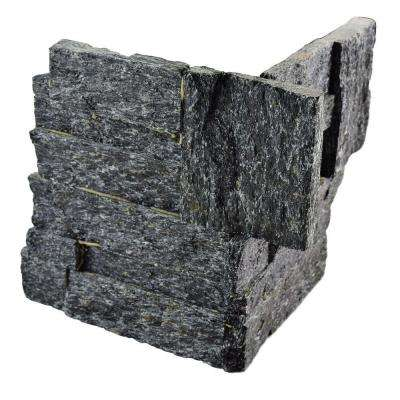 Ledger Panel Black Quartzite Corner 7 in. x 7 in. Natural Stone Wall Tile