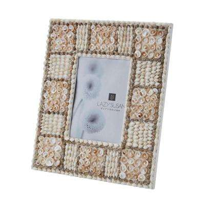 Natural Shell 1-Opening 5 in. x 7 in. Mosaic In Natural Shell Picture Frame