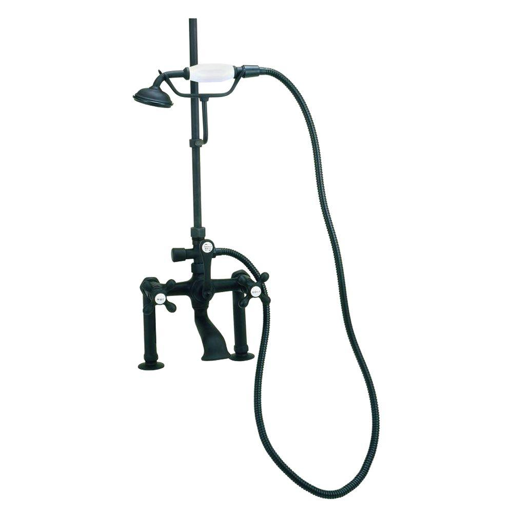 RM22 3-Handle Claw Foot Tub Faucet with Handshower in Oil Rubbed