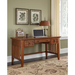54 in. Cottage Oak Rectangular 3 -Drawer Writing Desk with Keyboard Tray