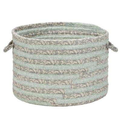 16 in. x 16 in. x 12 in. Jade Green Soft Corded Round Fabric Basket