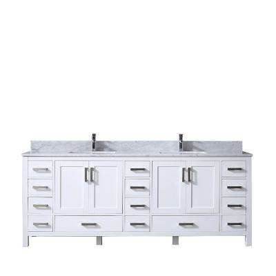 Jacques 84 in. Double Bath Vanity in White with White Carrera Marble Vanity Top with White Square Sinks