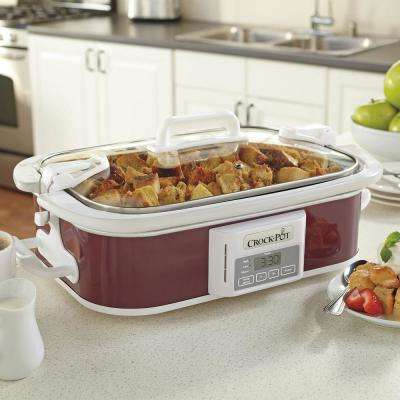 3.5 Qt. Programmable Casserole Crock Slow Cooker in Cranberry
