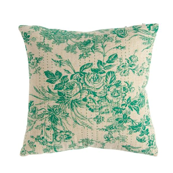 Green Floral Toile with Kantha Stitching 18 in. x 18 in. Throw Pillow