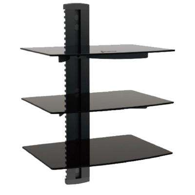 Triple Shelf Wall Mount for Media Players Tempered Glass