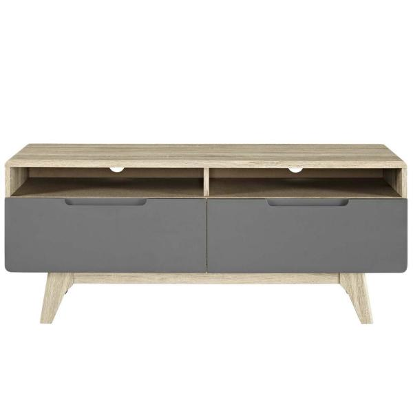 MODWAY Origin 47 in. Natural Gray TV Stand EEI-2533-NAT-GRY