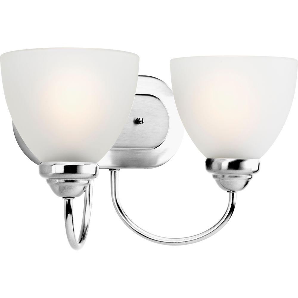 Vanity Light Glass Globes : Progress Lighting Heart Collection 2-Light Polished Chrome Vanity Light with Etched Glass Shades ...