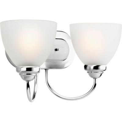 Heart Collection 2-Light Polished Chrome Bathroom Vanity Light with Glass Shades