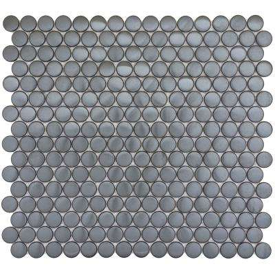 Gleam Graphite Matte 11.81 in. x 11.81 in. x 10mm Metal Products Mesh-Mounted Mosaic Tile (1 sq. ft.)