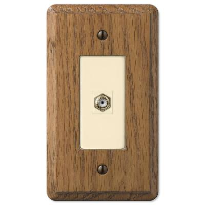 Contemporary 1 Gang Coax Wood Wall Plate - Medium Oak