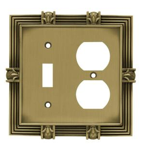 Pineapple Decorative Switch And Duplex Outlet Cover, Tumbled Antique Brass