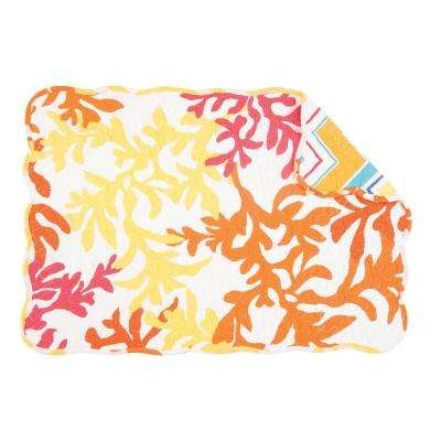 Orange Tropical Coral Quilted Placemat (Set of 6)