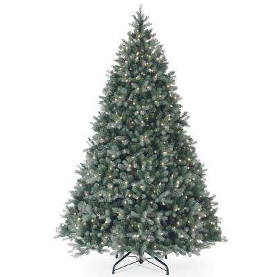 9 ft. Feel Real Downswept Douglas Blue Fir Hinged Tree with 900 Clear Lights