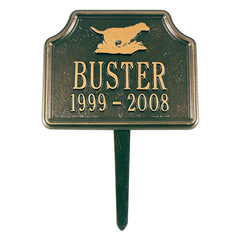 Whitehall Products Retriever Bronze/Gold Two Line Lawn Memorial Plaque