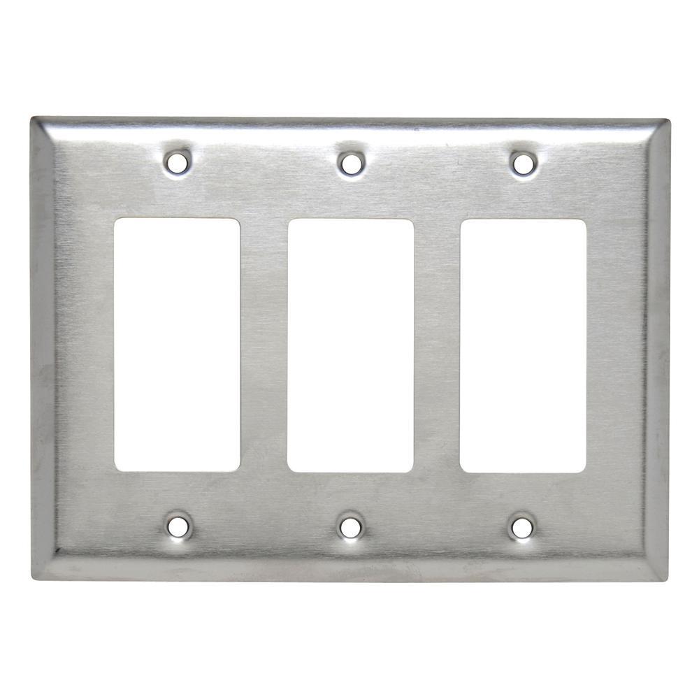 302 Series 3-Gang Junior Jumbo Decorator Wall Plate, Stainless Steel