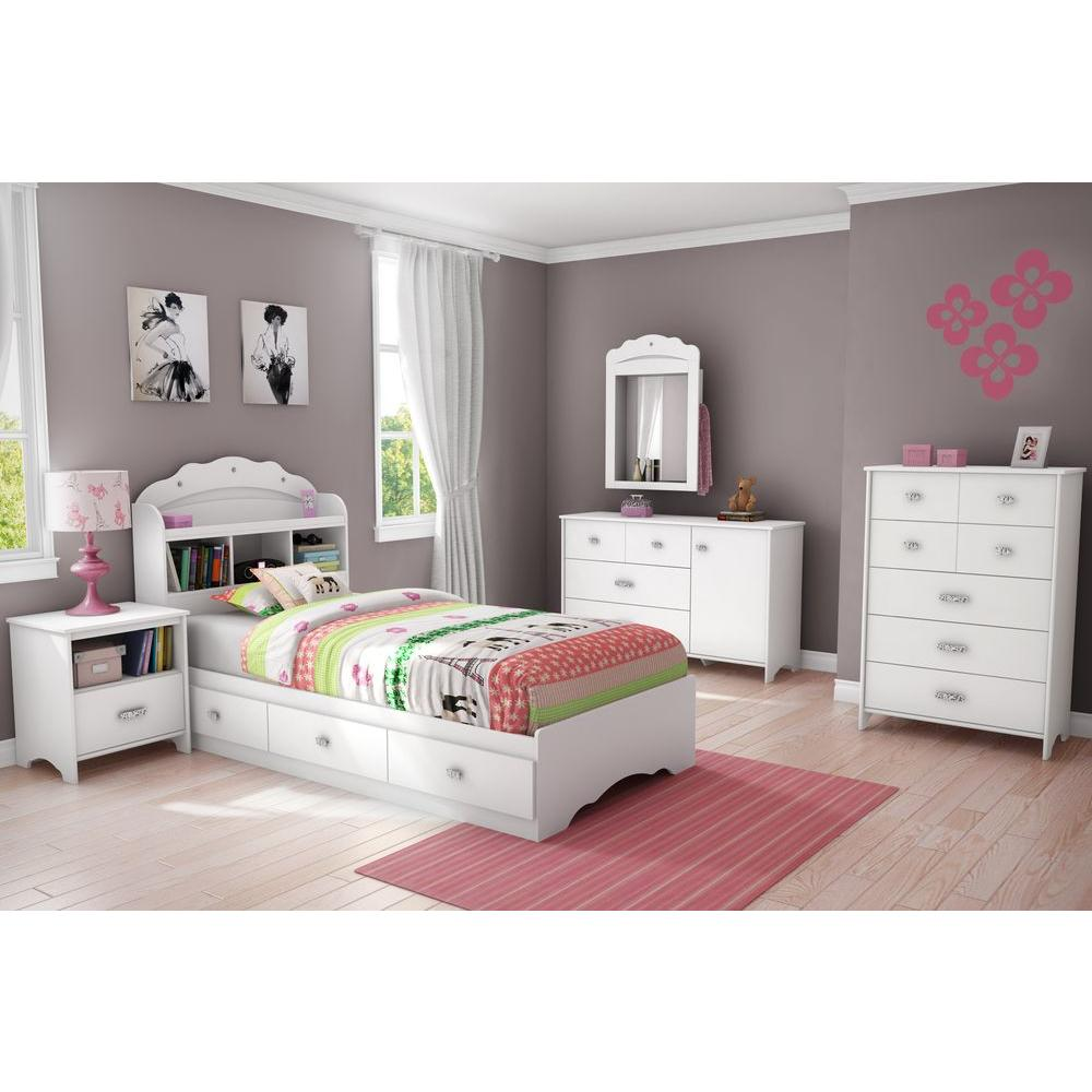 South S Tiara 3 Drawer Pure White Twin Size Storage Bed