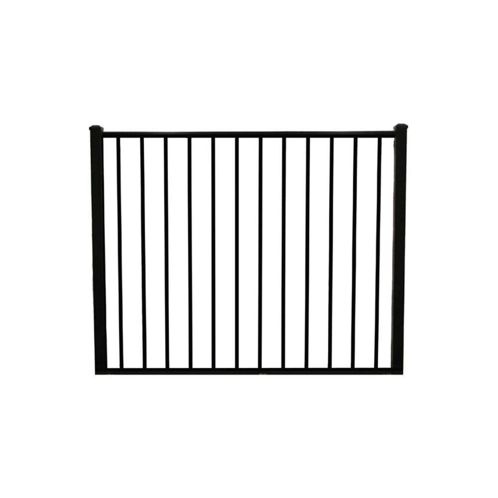 Newtown 5 ft. W x 4 ft. H Black Aluminum Fence Gate