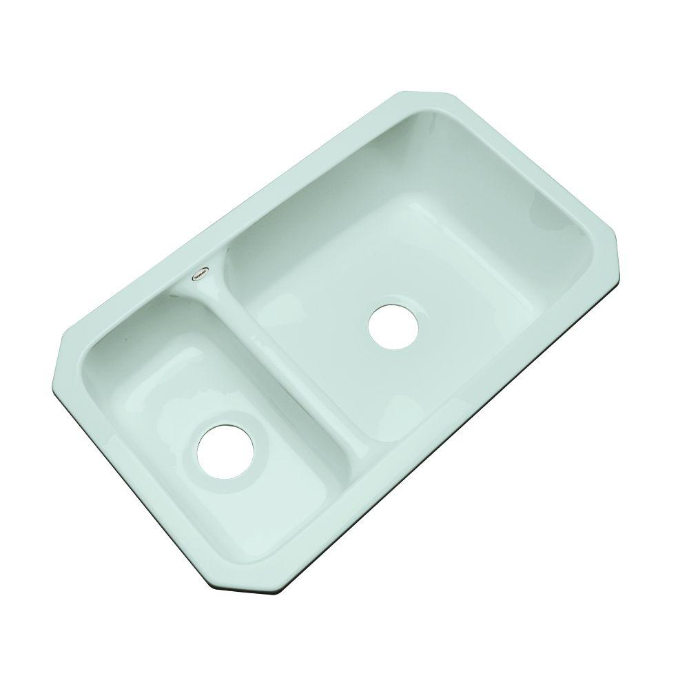 Thermocast Wyndham Undermount Acrylic 33 in. Double Basin Kitchen Sink in Seafoam Green