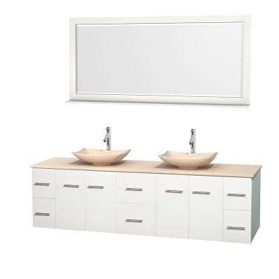 Centra 80 in. Double Vanity in White with Marble Vanity Top in Ivory, Marble Sinks and 70 in. Mirror