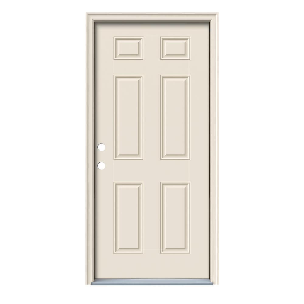 Jeld wen 32 in x 78 in 6 panel primed steel prehung - Installing prehung exterior door on concrete ...