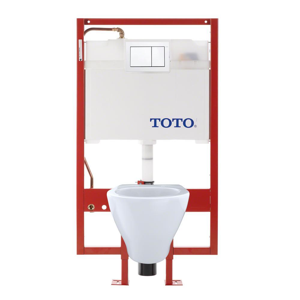 Aquia Duofit 2-piece 1.6 and 0.9 GPF Dual Flush Wall Mounted Elongated Toilet in Cotton White