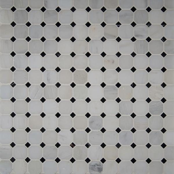 Greecian White Octagon 12 in. x 12 in. x 10mm Honed Marble Mesh-Mounted Mosaic Tile (1 sq. ft.)