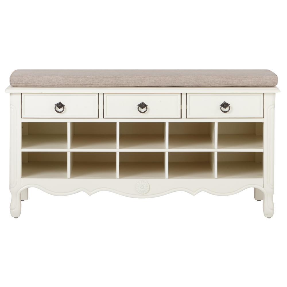 Keys 20 in. H Ivory Shoe Storage Cabinet