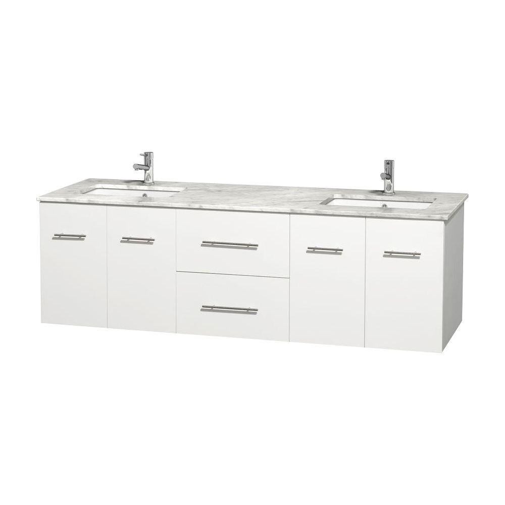 Wyndham Collection Centra 72 in. Double Vanity in White with Marble Vanity Top in Carrara White and Under-Mount Sinks