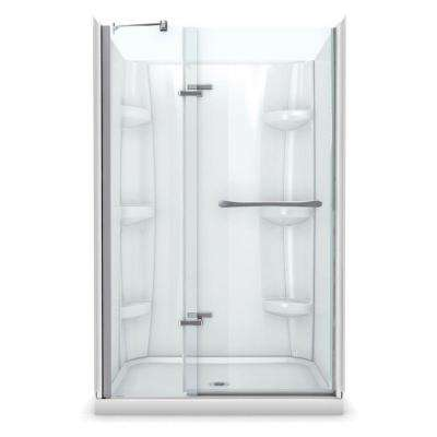 Reveal 32 in. x 48 in. x 76.5 in. Center Drain Alcove Shower Kit in White with Frameless Pivot Shower Door in Chrome