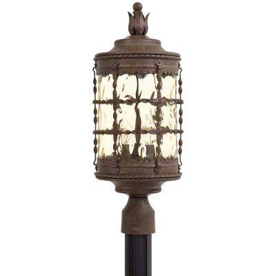 Mallorca 3-Light Outdoor Vintage Rust Powder Coat Post Light