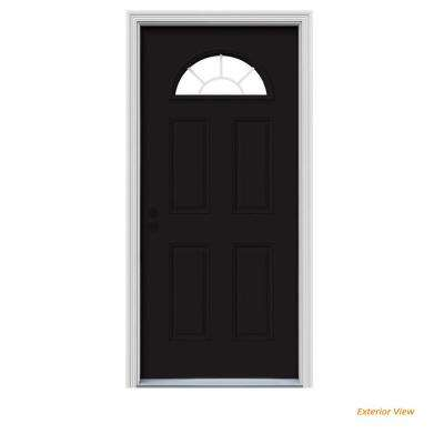 36 in. x 80 in. Fan Lite Black Painted Steel Prehung Right-Hand Inswing Front Door w/Brickmould
