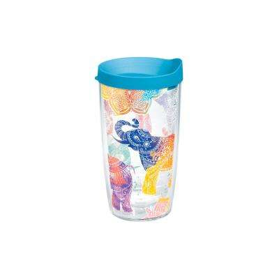 Mehndi Elephant 16 oz. Double Walled Insulated Tumbler with Travel Lid