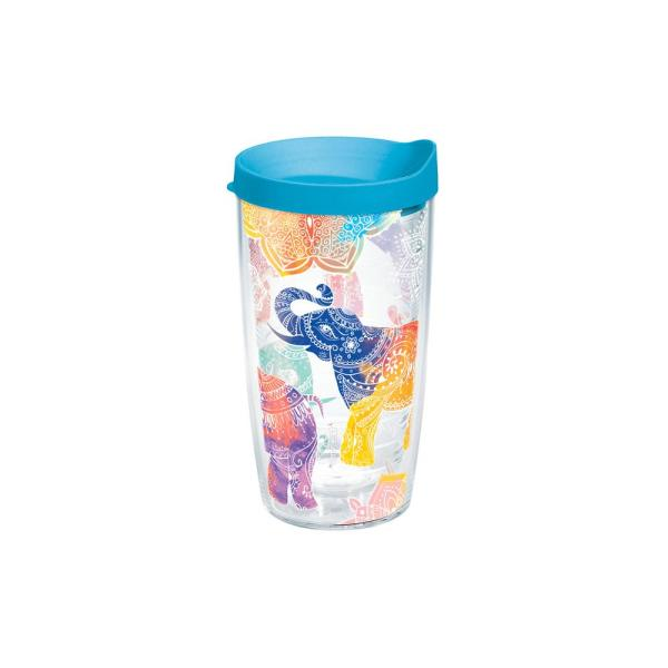 3b365c5976a Mehndi Elephant 16 oz. Double Walled Insulated Tumbler with Travel Lid