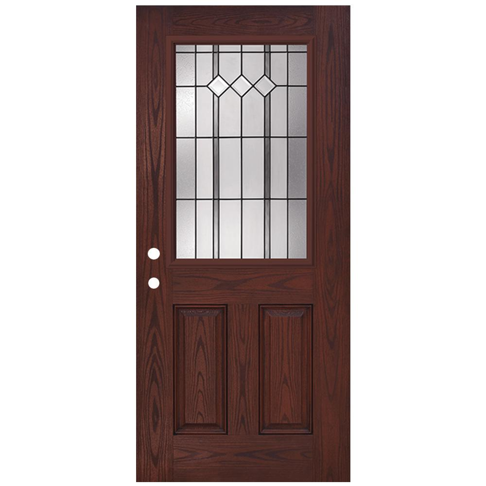 Steves and sons 36 in x 80 in classic epic 1 2 lite rosewood right hand inswing stained for Exterior glass doors home depot
