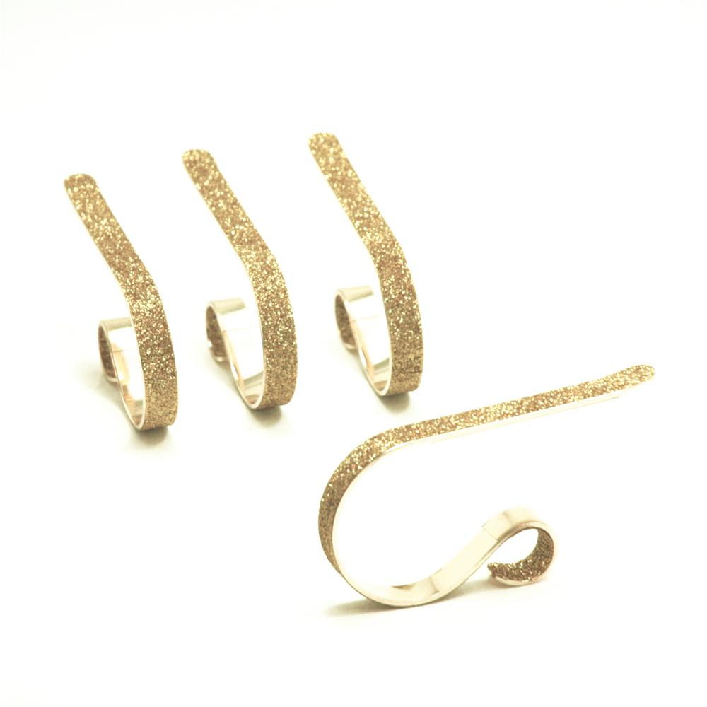 2.5 in. Steel Gold Glitter MantleClip Stocking Holder (4-Pack)
