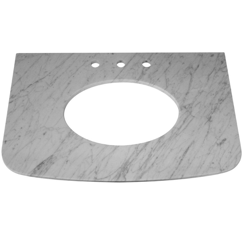 Porcher Savina 33-1/2 in. Stone Vanity Top in White Carrara without Basin-DISCONTINUED