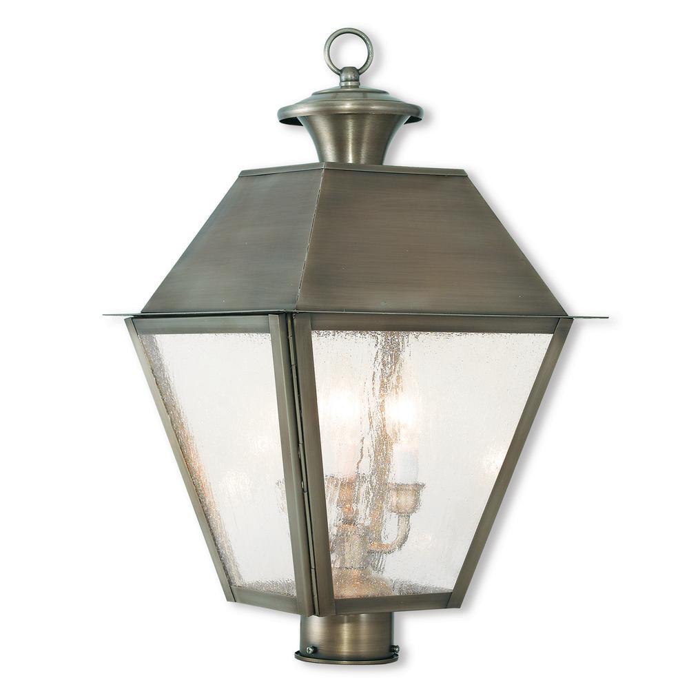 Mansfield 3-Light Outdoor Vintage Pewter Post Light