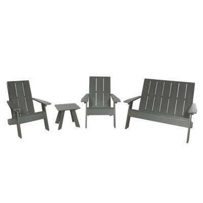 Barcelona Modern Coastal Teak 4-Piece Plastic Patio Conversation Set