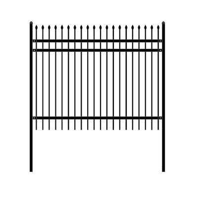 Rome Style 6 ft. x 8 ft. Black Unassembled Steel Fence Panel