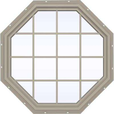 47.5 in. x 47.5 in. V-4500 Series Fixed Octagon Geometric Vinyl Window with Grids in Tan