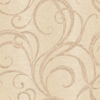 Petrel Metallic and Tan Scroll Wallpaper