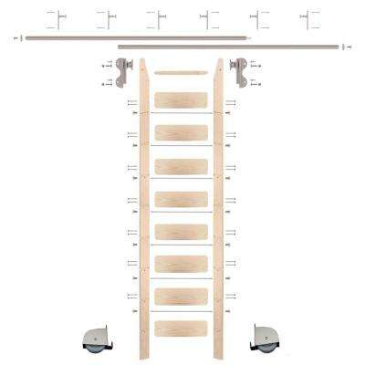 9 ft. Maple Ladder (10 ft. Reach) Satin Nickel Contemporary Rolling Hook Hardware 12 ft. Rail and Vertical Brackets
