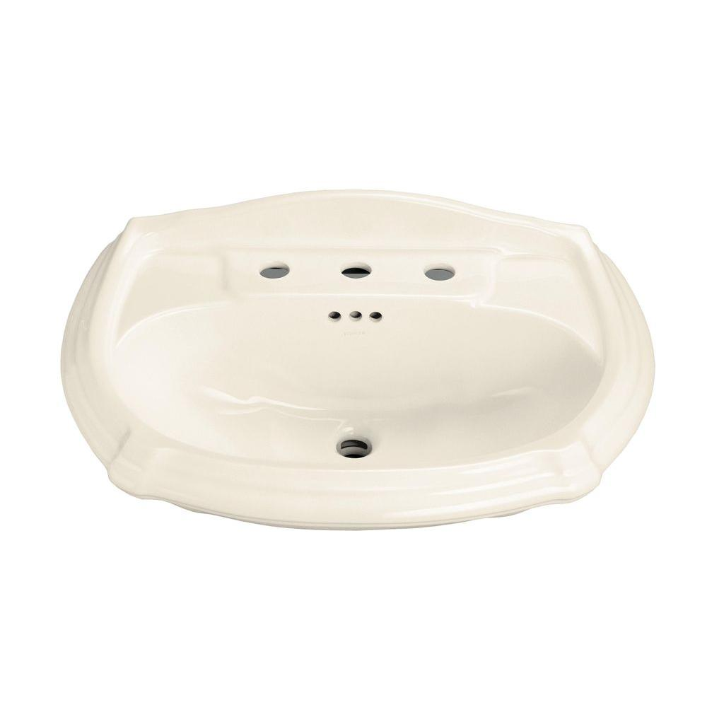 Vitreous China Pedestal Sink Basin In Almond
